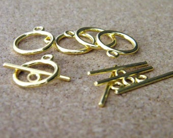 20 Golden - 15 mm x 2 mm AC28 metal toggle clasp set