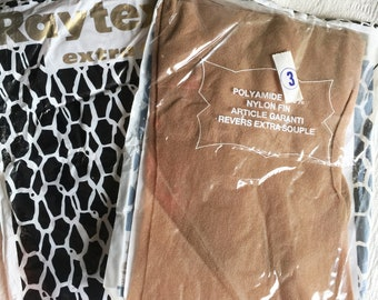 2 pairs of French vintage stockings, Vintage seamless nylon Stockings, Size 3, Size L, stretch, French Vintage Hosiery, 70's look