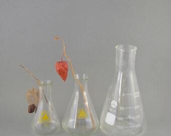 Vintage Erlenmeyer Flasks, Vintage Laboratory Glass, Set of Laboratory Flasks, Conical Flask Bottles, Chemistry Glassware, Volumetric Flask