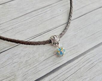 Antique brown braided leather choker necklace with aquamarine blue Swarovski crystal ball charm pendant ladies jewelery handmade jewelry