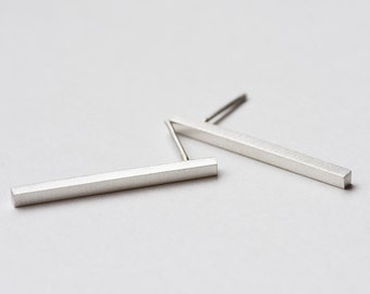 Bar Stud Earrings, Bar Studs, Silver Stud Earrings, Minimalist Studs, Sterling Silver Studs, Long Bar Studs, Bar Post Earrings