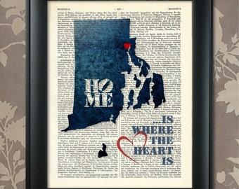 Rhode Island Map, Rhode Island Print, Rhode Island Art, Rhode Island Poster, Rhode Island Pride, Rhode Island Decor, Rhode Island Gift