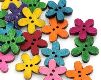 set of 24 wooden flowers 19 mm buttons