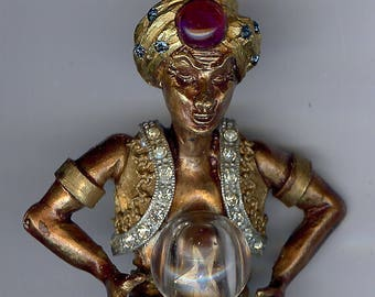 HAR VINTAGE 3D GENIE fortune teller with crystal ball pin brooch