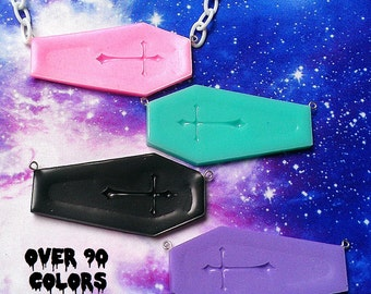Pastel Goth Coffin Necklace, Fairy Kei, Grunge, Kawaii, Cross