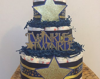Twinkle twinkle Diaper Cake/ Navy & Gold diaper cake baby shower centerpiece