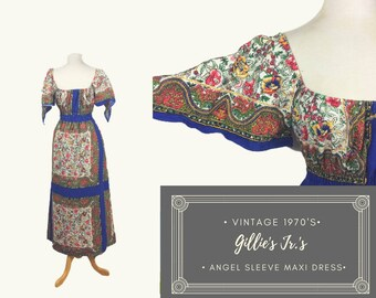 Romantic Vintage Gunne Sax Style Bohemian Maxi Dress with Angel Sleeves. Gunne Sax, Gille's Jrs, bandana dress, angel sleeves, boho, 70s