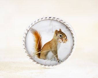 Squirrel Brooch - Silver Squirrel Jewelry Broach, Red Squirrel Pin