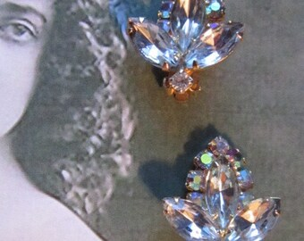 BRIDAL JEWELRY   Elegant Vintage Rhinestone and Aurora Borealis Clip Earrings