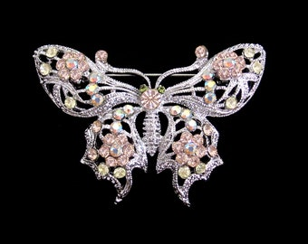 Crystal Butterfly Brooch Pin Silver Tone Peach Yellow