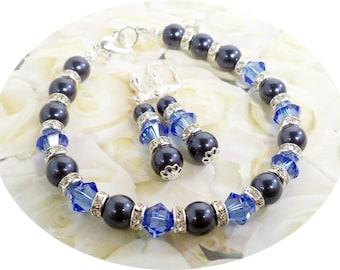 Blaue Armband, Ohrringe, Saphirblau, Hochzeit, Brautjungfer Schmuck, blauen Schmuck, Kristalle, Perlen, Strass, September Birthstone