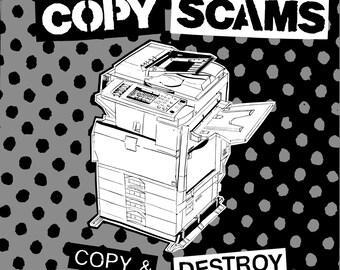 Copy Scams - Copy & Destroy 10 inch vinyl record, digital download code and 16 page zine