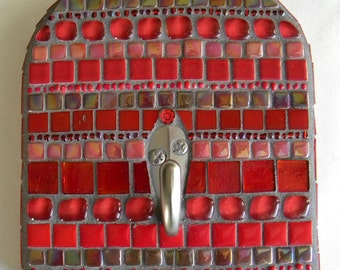 Red Arch Mosaic Wall Hook, Home Decor, Red Decor, Housewarming Gift, Mother's Day, Jewelry Hook, Hook for Keys, Hook for Leash, Scarf Hook