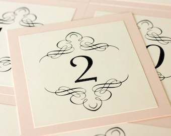 Nouveau Table Number Wedding Decor Twenties Handmade cream pink elegant custom Great Gatsby flapper wedding sign