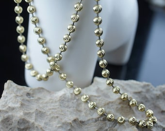 STERLING SILVER 925 Gold Vermeil Vintage Art Deco  chaine necklace Gold Ball Beads Jewelry  minimalist Modernist st42