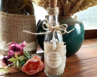 Rustic, holy water glass bottles, Baby Baptism Favor ,Christening Favor, Communion Favor, First Communion Favor, Cross, favors party favors