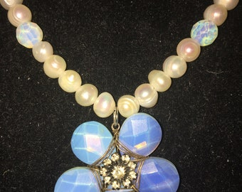 Vintage Pearl and Moonstone Beads with a Beaded Moonstone Flower