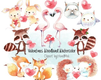 Valentines woodland watercolor ,Valentine's clipart,valentine day clipart Instant Download PNG file - 300 dpi
