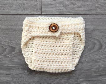 Ready to Ship - Adjustable Cream Crochet Diaper Cover with Wooden Button - Newborn Size