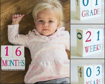Girl Wooden Baby Age Blocks - Photo Prop - 0 - 43 Weeks, Months, Years and Grade