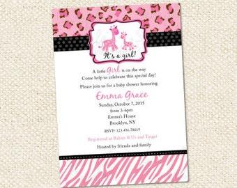 Pink Safari Baby Shower Invitations