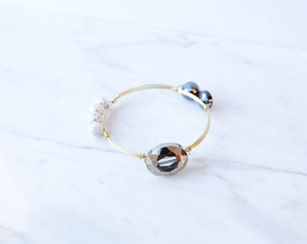The Wren Bangle - Navy Wire Wrapped Stone Bangles, Wire Wrapped Bracelet, Stone Bangle, Stone Bracelet, Stackable Bangles