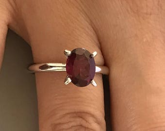 Women's 925 Sterling Silver Oval Cut Natural Garnet Stone Solitaire Wedding Promise Engagement Ring, Also Available In 14K Solid White Gold