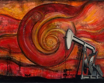 "Pumpjack, 13""x19""  Fine Art Print Signed by Artist Jamie Rice, Home Decor with a story."