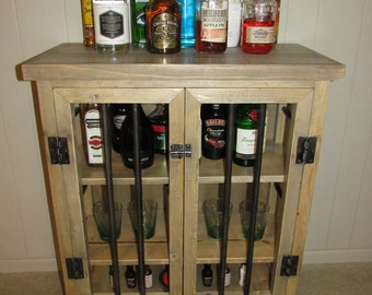 Liquor Cabinet, Rustic Iron And Wood With Natural Distressed Finish