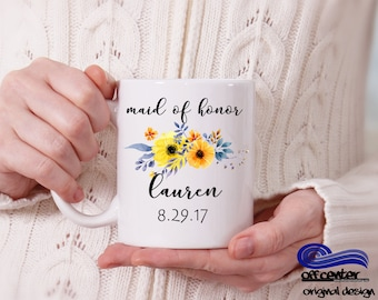 Maid of Honor Coffee Mug Custom Bridesmaid Coffee Cup Personalized Bridesmaid Gift Bridal Party Gift Wedding Coffee Mug Gift for Bridesmaids