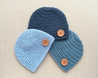Newborn baby boy hat, Crochet newborn hat Boy Newborn photo prop Baby skull cap Newborn boy beanie Crochet baby hat Hospital new born hats