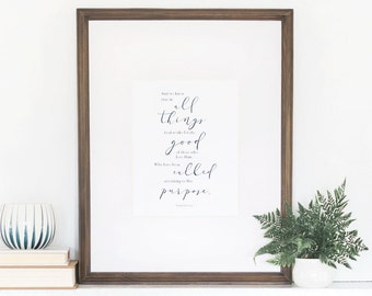 Romans 8:28, Watercolor Art Print, In All Things God Works For Good, Watercolor Verse, Wall Art Quotes, Quotes Home Decor, 8x10 Art Print