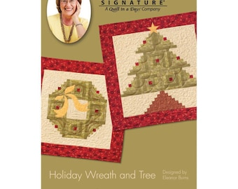 Christmas Wreath and Christmas Tree Quilt Wall Hanging Pattern by Eleanor Burns Patterns - Christmas Pattern