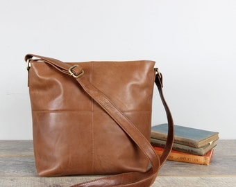 Distressed Leather Cross Body Messenger Bag, Leather Purse, Tan