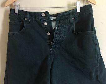 "1980's ""Z. Cavaricci"" High-Waisted Forest Green Denim Shorts"