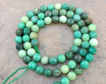 Green Moss Opal Beads, round beads, faceted, 6mm, 16 inch strand