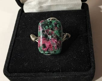 Jasper, silver, size 7.5, wire wrapped ring