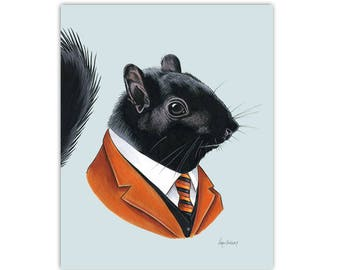 Black Squirrel art print 8x10