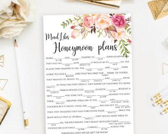 "Printable Mad Libs game Funny Bridal Shower Mad Lib template ""Honeymoon plans"" Instant download PDF JPEG"