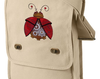 Steampunk Ladybug Embroidered Canvas Field Bag