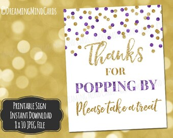 Printable Thanks for Popping By Popcorn Bar Sign 8x10 Dark Purple Gold Glitter Confetti Baby Shower Digital Download