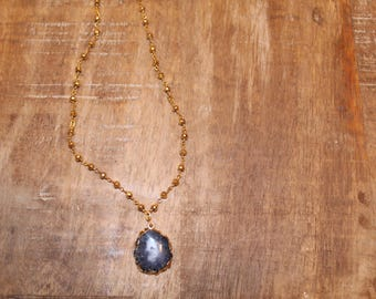 Black quartz Stone on Gold Filled Rosary Chain