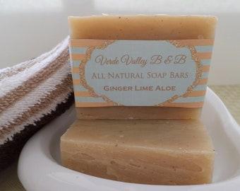 Ginger Lime Aloe Soap, Ginger Lime Aloe Bar Soap, Ginger Lime Aloe Soap Bar, Ginger Lime Bath Soap, Handmade Soap, Natural Soap, Vegan Soap