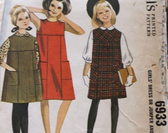 So cute! Vintage 1963 McCall's sewing pattern #6933 in Girls' size 8 - Back buttoned, yoked dress or jumper and blouse - UNCUT