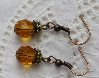 Amber Earrings, Amber Drop Earrings, Amber Glass Earrings, Antique Drop Earrings, Amber Bead Earrings, Amber Dangle Earrings, gift for mom