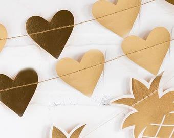 Gold Heart Garland   Gold Foil Hearts Gold Heart Party Banner Wedding Garland Paper Heart Garland Hanging Heart Home Decor Garland Mantel