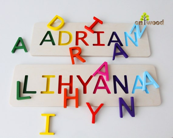 Personalized name puzzle 1st birthday gift boy girl wooden 50 negle Images