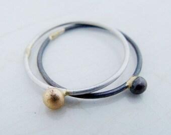 Fair trade wedding rings in 18k gold and silver 925, different partner rings, fairtrade silver rings, responsable mininig