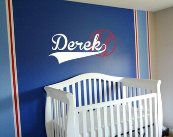 Baseball wall decals, Name decals, Sports decals, Personalized wall decals for kids, Baseball stickers, Nursery wall decals, Vinyl decal 199