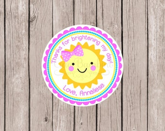 You Are My Sunshine Birthday Party Favor Tags or Stickers / Personalized Sunshine Stickers or Tags in Pink, Yellow and Aqua / Set of 12